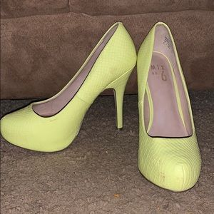 Platform yellow high heels